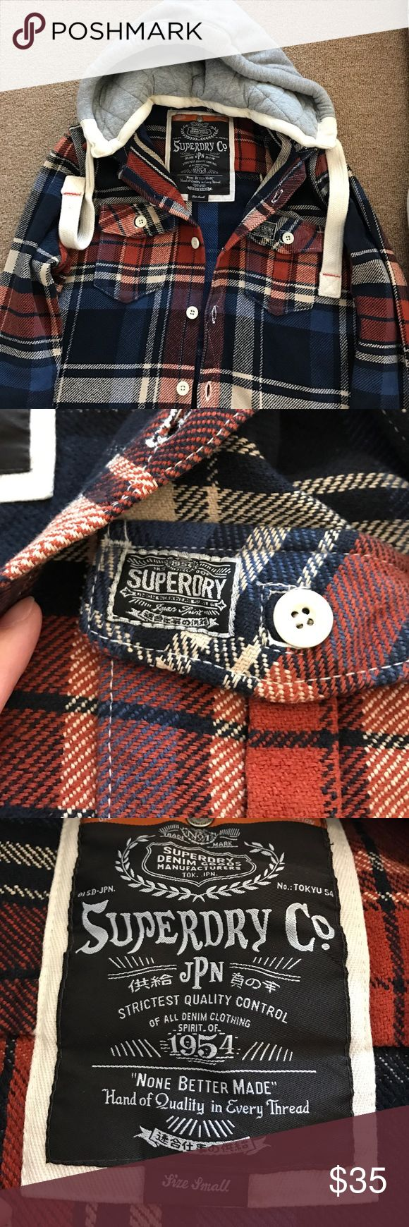 Superdry plaid jacket Reposh- Superdry plaid jacket. Great condition- unfortunately it's too big on me. Removable hood. Superdry Jackets & Coats
