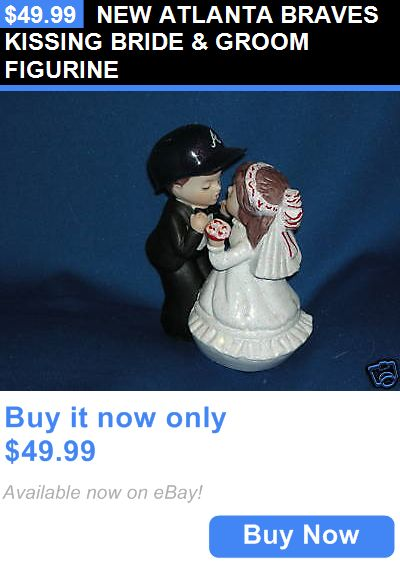 Wedding Cakes Toppers: New Atlanta Braves Kissing Bride And Groom Figurine BUY IT NOW ONLY: $49.99