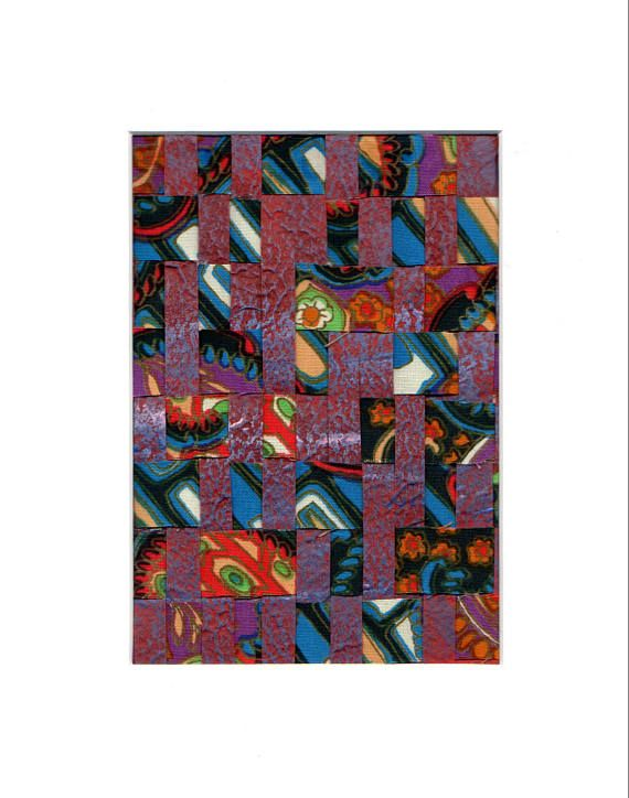 An Original Abstract Art Weaving in Turquoise Red and Blue