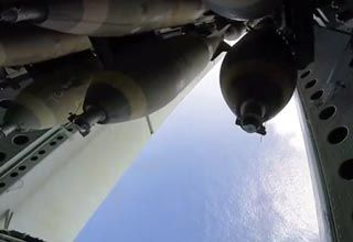 A B52 Bomber Dropping Its Payload