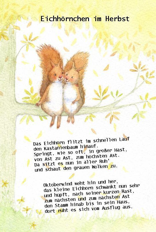 Eichhörnchen im Herbst #oktober #kindergarten #gedicht #reim #kita #erzieherin #literacy #fingerspiel #herbst