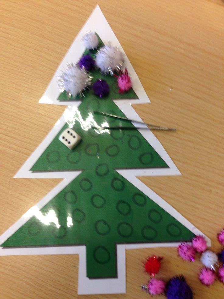 De dobbelsteen bepaalt hoeveel kerstballen er in je boom bijkomen. Wie het eerst zijn boom vol heeft is gewonnen. De kerstballen kunnen genomen worden met een pincet, lepeltje ( van babypoeder) .... maar niet met de handen.