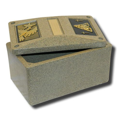 Durable burial vault which will securely hold small to medium sized cremation urns for ground burial. Made in the USA.