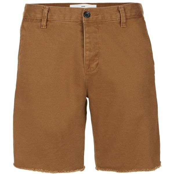 TOPMAN Tan Ripped Slim Fit Chino Shorts ($36) ❤ liked on Polyvore featuring men's fashion, men's clothing, men's shorts, tan, mens slim fit chino shorts, mens distressed shorts, mens chino shorts, slim fit mens clothing and mens ripped shorts