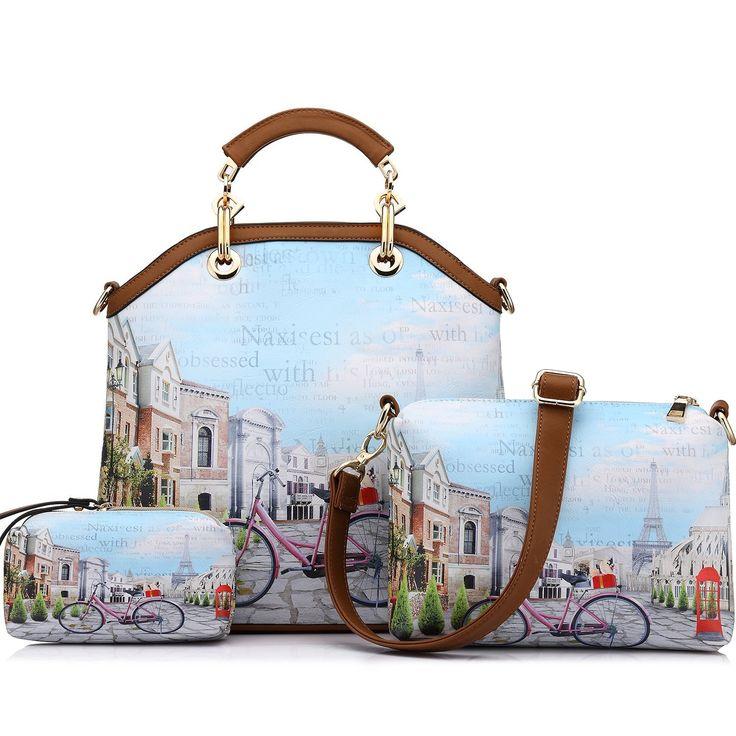 ... Realer Womens Handbags Purse Tote Bags Female Crossbody Bags 3 Pcs  Shoulder Bags Top-Handle ... 977f6ccaa2925