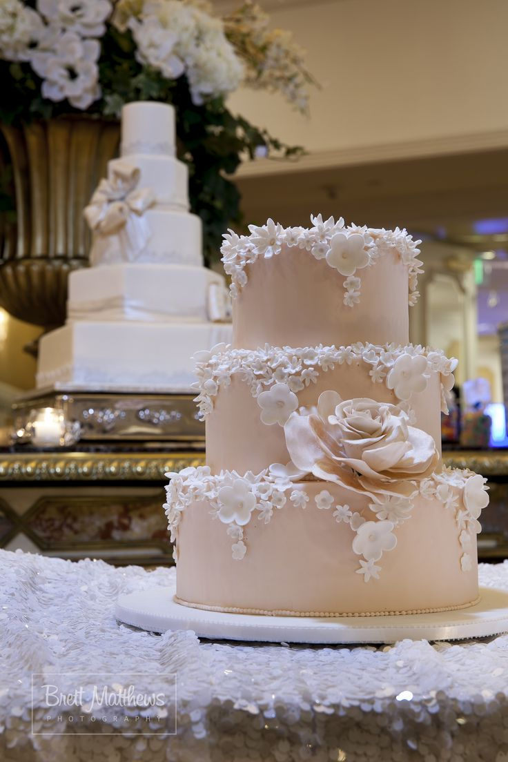 Best wedding cakes long island - Blush Pink Three Tier Wedding Cake With Dozens Of Tiny Flowers And One Stellar Tone