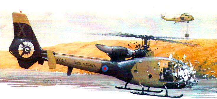 Argentinian Gazelle helicopter destroyed by British fire at the Bay of San Carlos, Falklands War