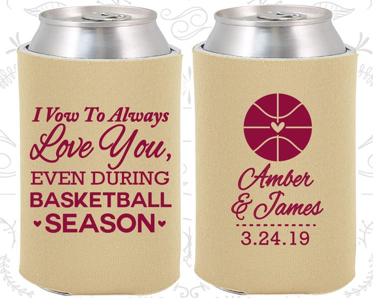 I Vow to Always Love You, Even During Basketball Season, Personalized Wedding, Basketball Wedding Favors, Sports Coozies (304)