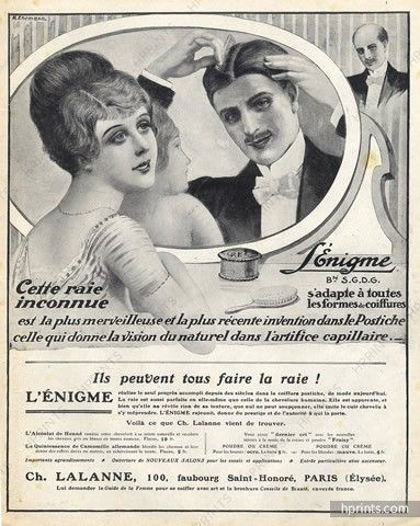 Lalanne (Hairstyle) 1913 Hairpieces, Postiches, Wig, A. Ehrmann