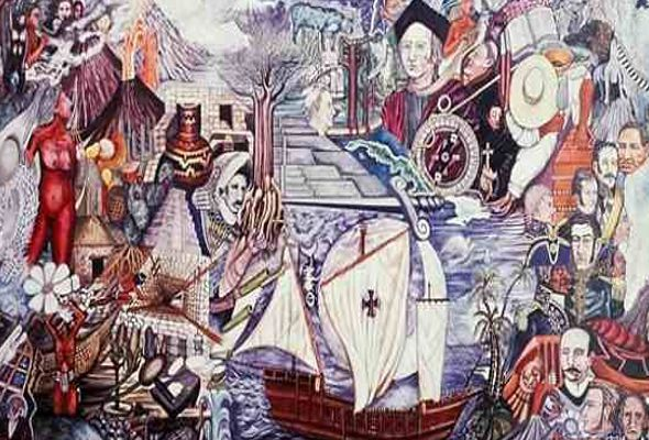 Encuentro de dos mundos de Julio Carrasco Breton (muralista mexicano)