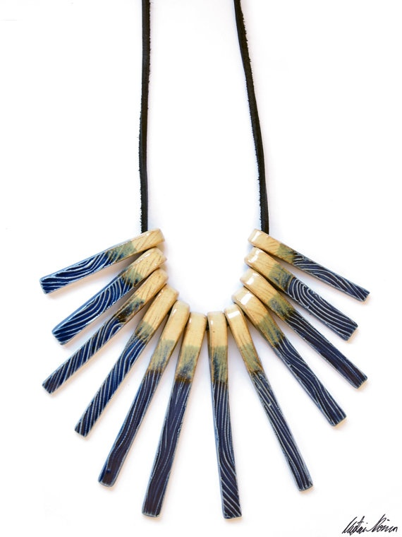 Handmade Textured Ceramic Tribal Necklace by TaupeKlein on Etsy, $28.00