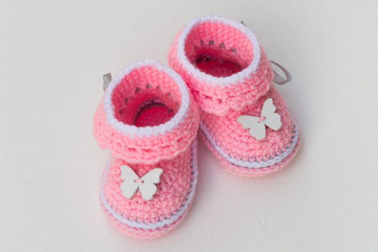 Baby Girls Booties,Crochet Booties,Crochet Baby Shoes,Perfect Gift,New Baby,Baby…