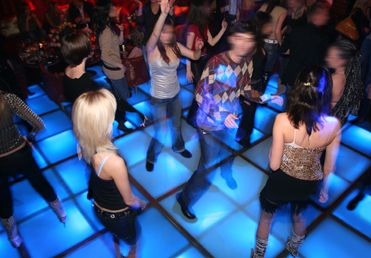 Acrylic dance floor... who would have thought!  Great effect with the lights underneath.