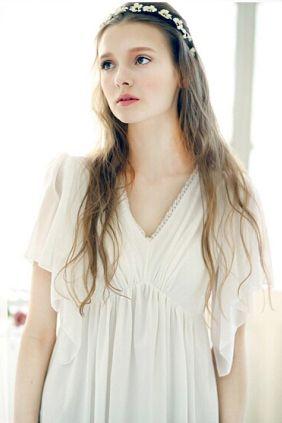 Butterfly Sleeve Draped White Nightgown Sleepwear