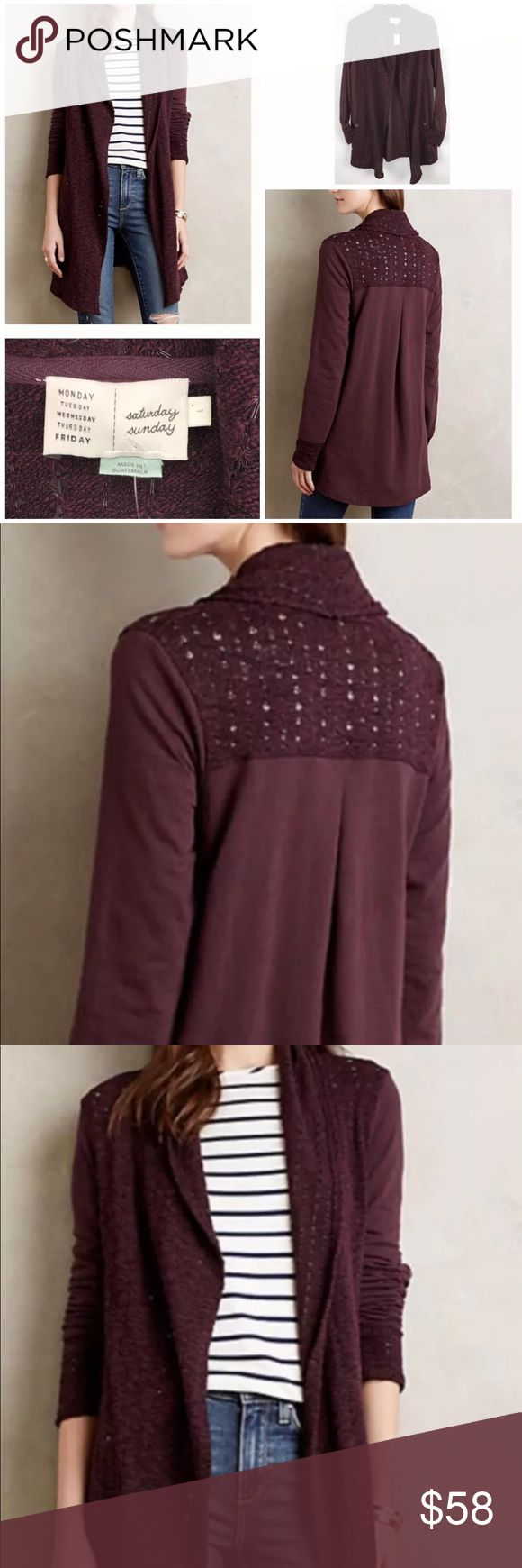 Saturday Sunday Anthropologie open cardigan Plum Saturday Sunday by Anthropologie. Open cardigan in Athens plum color. In excellent pre-owned condition (no stains, no rips or tears, no pilling). Perfect for the fall weather with a simple tee, jeans and boots. Anthropologie Sweaters Cardigans