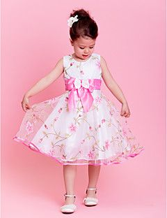 A-line/Princess Jewel Knee-length Organza Flower Girl Dress (EB301) – USD $ 29.99