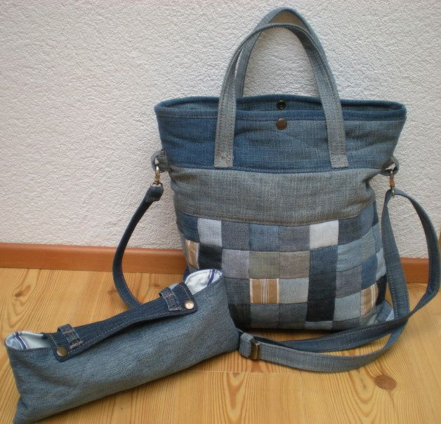 """Notebooktaschen - Jeanstasche Notebooktasche mit Etui """"Patch... - ein Designerstück von Gasani bei DaWanda"""