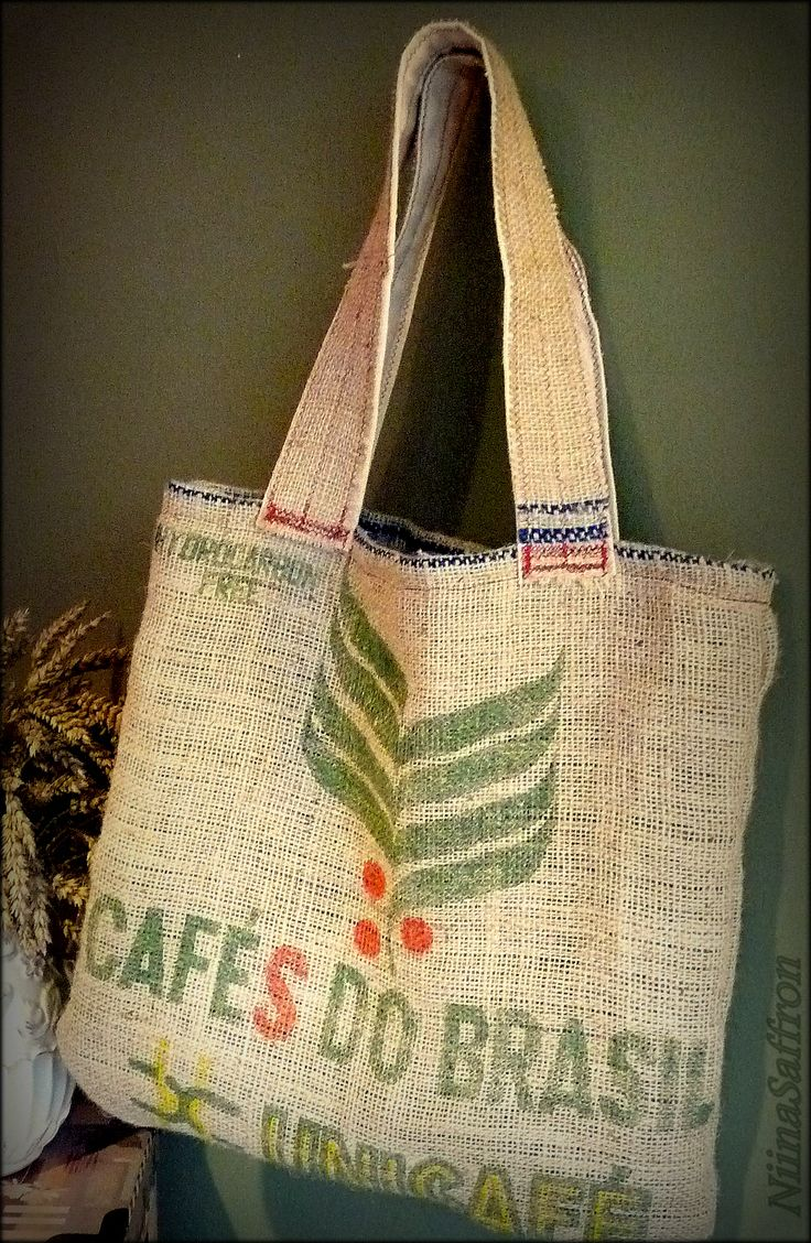 I made this tote bag using old coffee beans sack and recycled cotton lining NiinaSaffron Design www.etsy.com