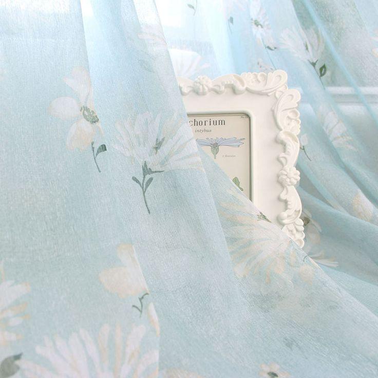 blauwe bloem balkon venster screening afgedrukt pure tule gordijnen paneel gratis verzending