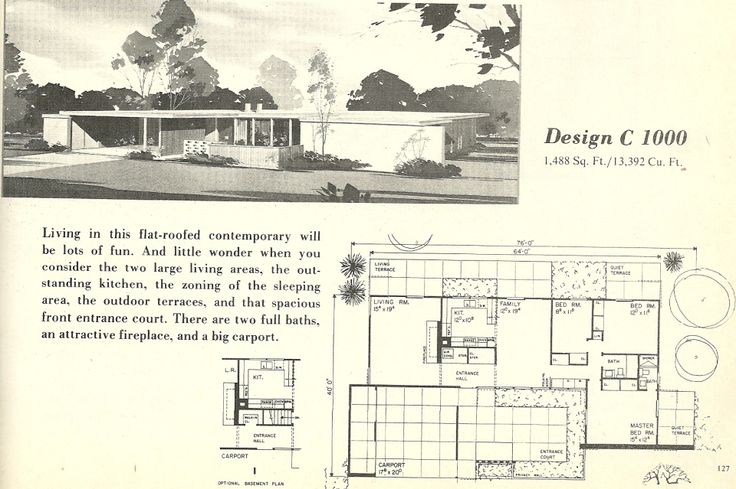 Vintage house plans mid century modern house plans 1960s for Retro modern house plans