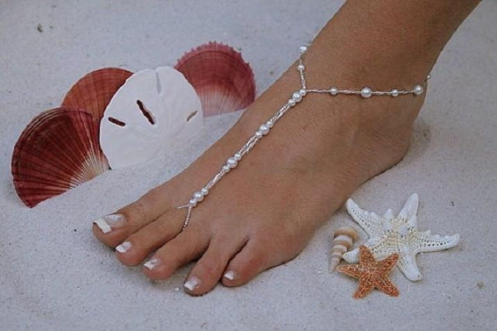 Barefoot Sandal Elegant White Pearls And Silver Beaded: Beach Wedding Sandal Bridal Shoes