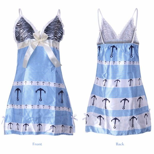 Ladies Sexy Bowknot V Neck Backless Pajamas Spaghetti Strap Patchwork Nightdress