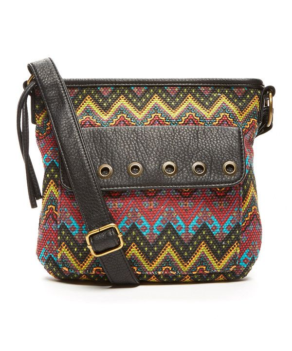 Look at this T-Shirt & Jeans Brown & Yellow Chevron Crossbody Bag on #zulily today!