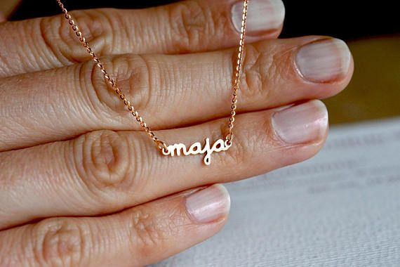 Pretty extra small name necklace. So cute!!! High polished solid GOLD necklace. Please write your desired name in the notes at the checkout. Your necklace will be handmade after your order. I can also set bitrhstones into the name for extra fee. Please contact me for the price before