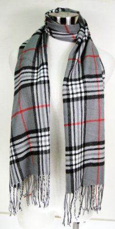 Premium Cashmere Feel Plaid Tassel Ends Scarf - Grey - Burlington Coat Factory - 8 Dollars