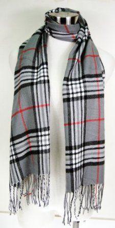 Premium Cashmere Feel Plaid Tassel Ends Scarf - Grey - Burlington Coat Factory - 8 Dollars