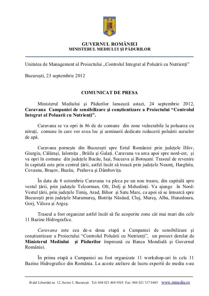 comunicat-de-presa-caravana-campaniei-controlul-integrat-al-poluarii-cu-nutrienti by Campania  INPCP via Slideshare
