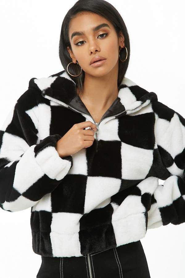 668daf903 $39.90 - Forever 21 Checkered Faux Fur Anorak - Available Colors:  Pink/Black, White/Black - This #anorak in a checkered faux fur print has a  #hood, ...