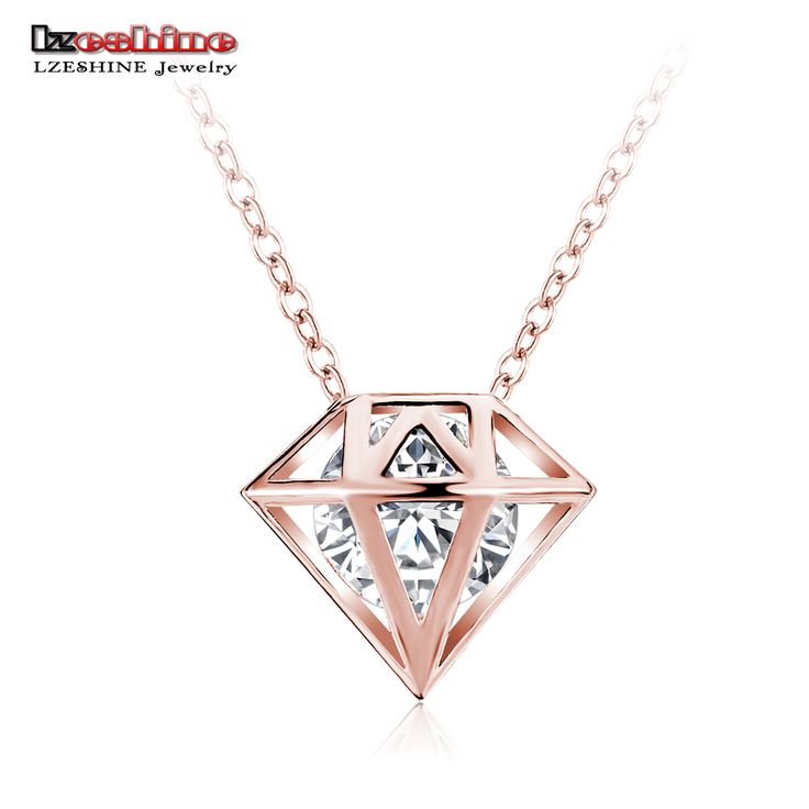 LZESHINE Hollow Imitation Diomand Pendant & Necklace Rose Gold/Silver Plated Necklace Women Accesorios Mujer Jewelry CNL0228