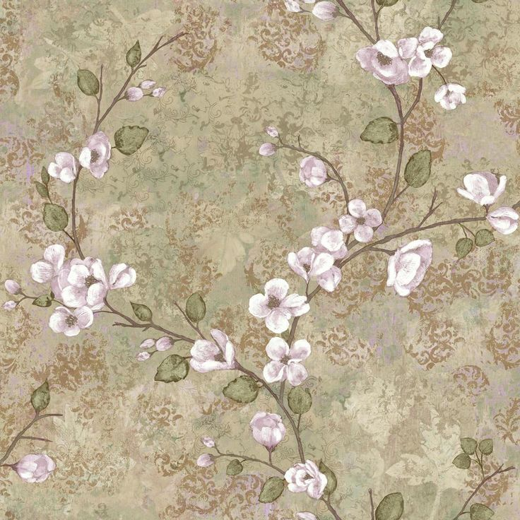 56 sq. ft. Charlotte Dogwood Wallpaper, Tan/Purple/Grey/Green/Light Russet