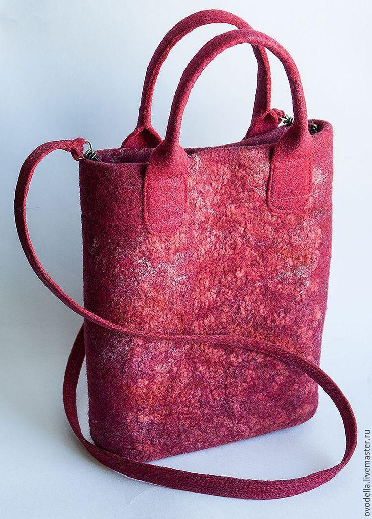 """Купить Сумка валяная """"Ягода малина"""" - ярко-красный, бордовая сумка, малиновый…"""