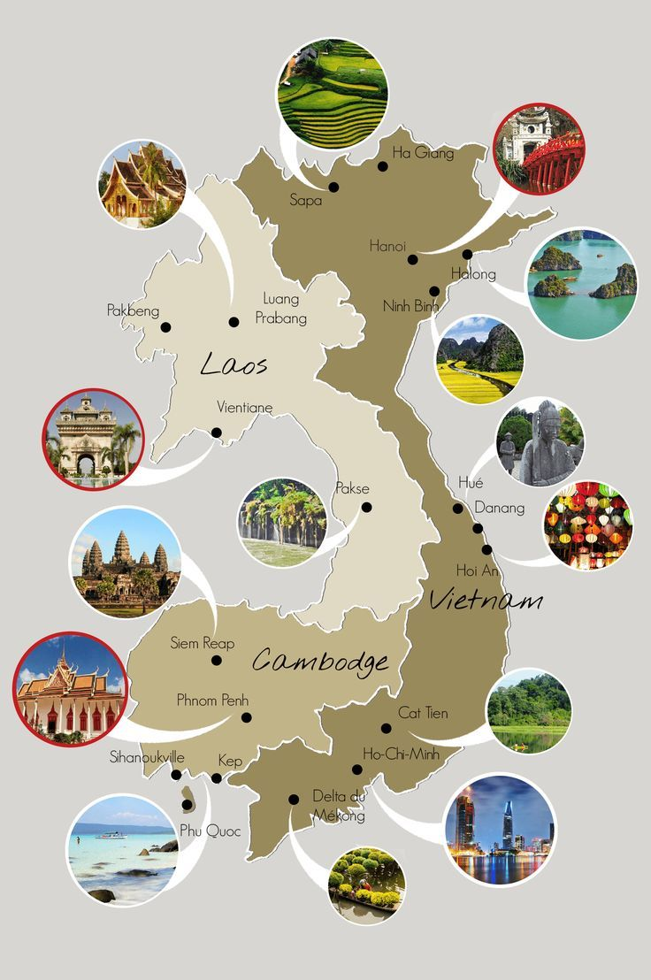 Entdecken Sie unsere Karte von Vietnam, Kambodscha und Laos, um sich auf das Bessere vorzubereiten …