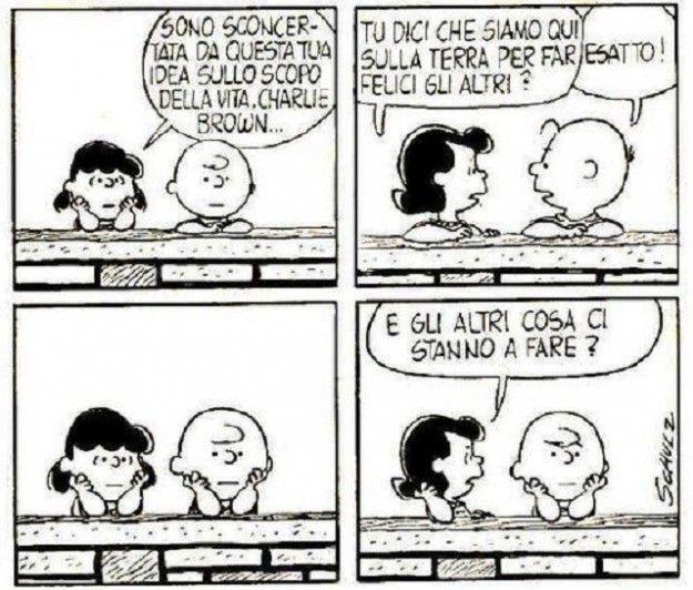 """""""Lucy e Charlie Brown discutono sulla felicità"""""""