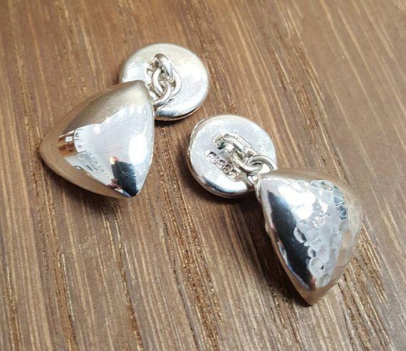 Handmade Triangle Sterling Silver heavy chain link cufflink