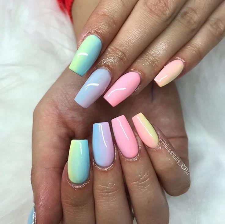 Rainbow Pastel Acrylics Nail Designs In 2019 Colored Acrylic Nails Rainbow Nails Colourful