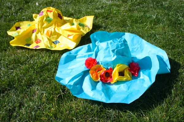 Beautiful spring hats your kids can make ~ Paper Mache hats and tissue paper flowers
