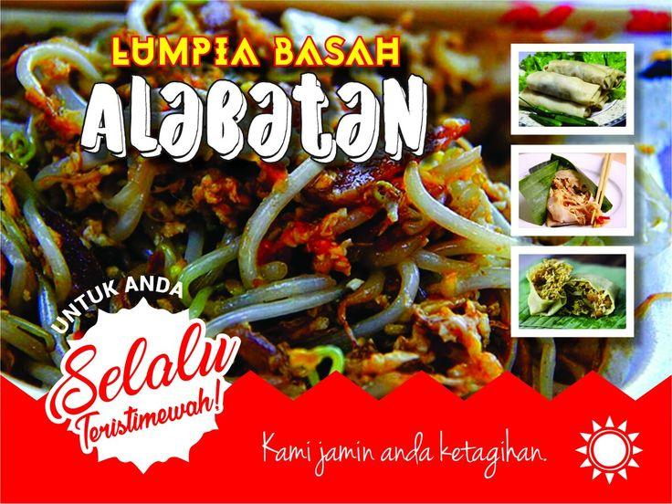 Design spanduk kuliner lumpiah basah di Kota Bogor. Lumpiah Basah Alabatan.