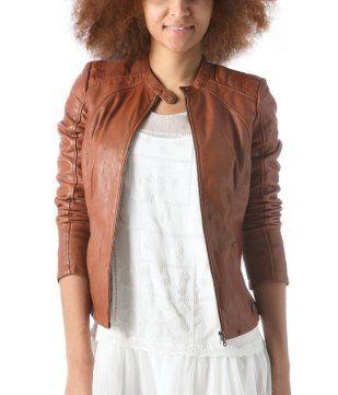 Veste en cuir cognac femme