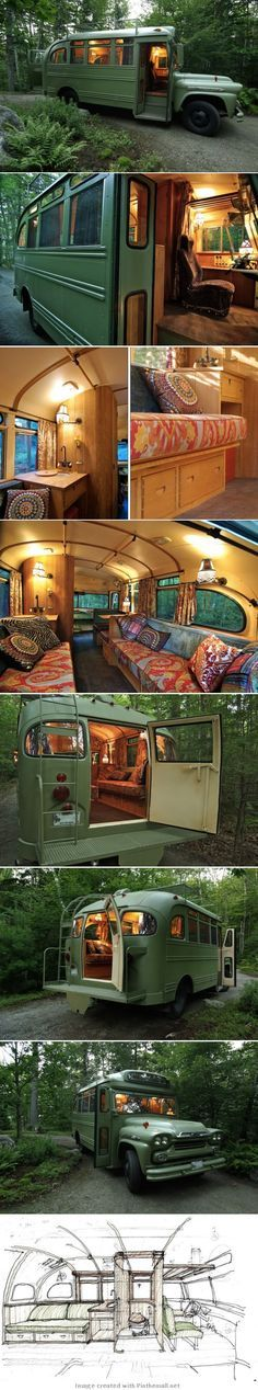 1960s Chevy bus to camper conversion - created via http://pinthemall.net