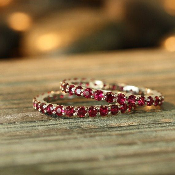 Ruby Eternity Band Ring 14k White Gold Yellow Gold by LaMoreDesign