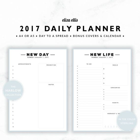 2017 A4 & A5 DAY TO A SPREAD PLANNER - THE HARLOW PLANNERS IN STERLING  Designed with working mums in mind, this spacious planner lets you easily keep on top of work and home! The day to a spread format includes room for client appointments, daily habits, workouts and water intake, as well as a daily meal planner and more. Its the perfect planner to take you seamlessly from day to night!  > SPEND $20 AND GET 20% OFF!!! JUST USE CODE PERFECTPLANNER  > FEATURES  ▪️ hourly times