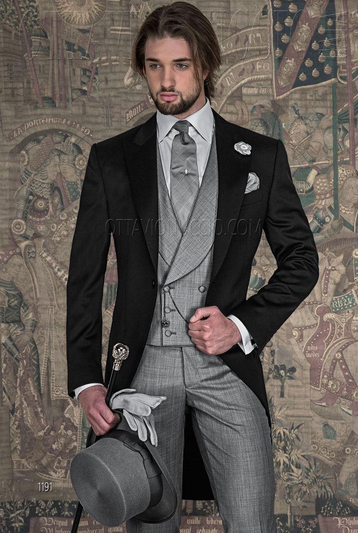 Italian Morning Dress in Black Pure super 140's Wool Satin. #menswear #menstyle…