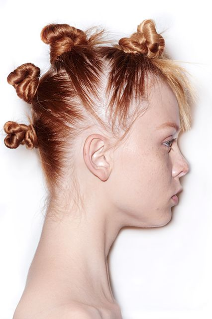 """Runway Hair You'll Actually Want To Wear #refinery29  http://www.refinery29.com/2014/09/74304/best-hairstyles-fashion-week-spring-2015#slide18  Hella Good Palau claims the """"mod-mohawk"""" at Marc by Marc Jacobs was inspired by Björk and raver girls, but all we're seeing are Gwen Stefani's No Doubt days. Either way, we're totally digging it."""