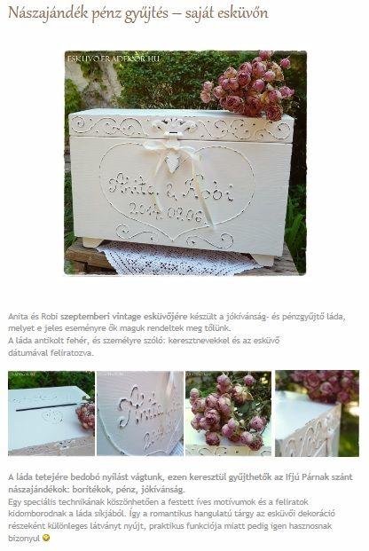 Nászajándék pénz gyűjtés saját esküvőn. Nézd meg, katt az alábbi linkre >> http://eskuvo.eradekor.hu/naszajandek-penz-gyujto-lada-sajat-eskuvon/