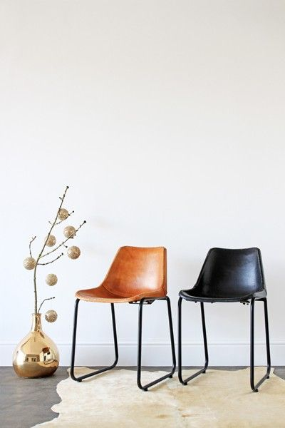 Industrial Leather Dining Chair - Black - Dining Chairs - Furniture                                                                                                                                                                                 More