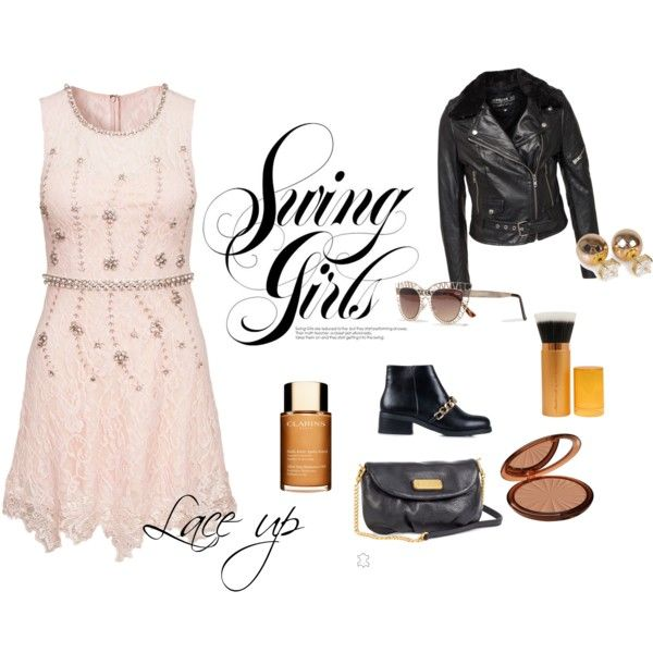 Spring girls/Lace up by camelia-tugurlan on Polyvore featuring Jofama, Nly Shoes, MARC BY MARC JACOBS, Pieces, Isadora and Clarins